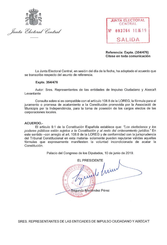 La Plataforma Lloc Net, Joc Net Logra Que La JEC Acuerde Invalidar La Jura Con Fórmulas No Constitucionales