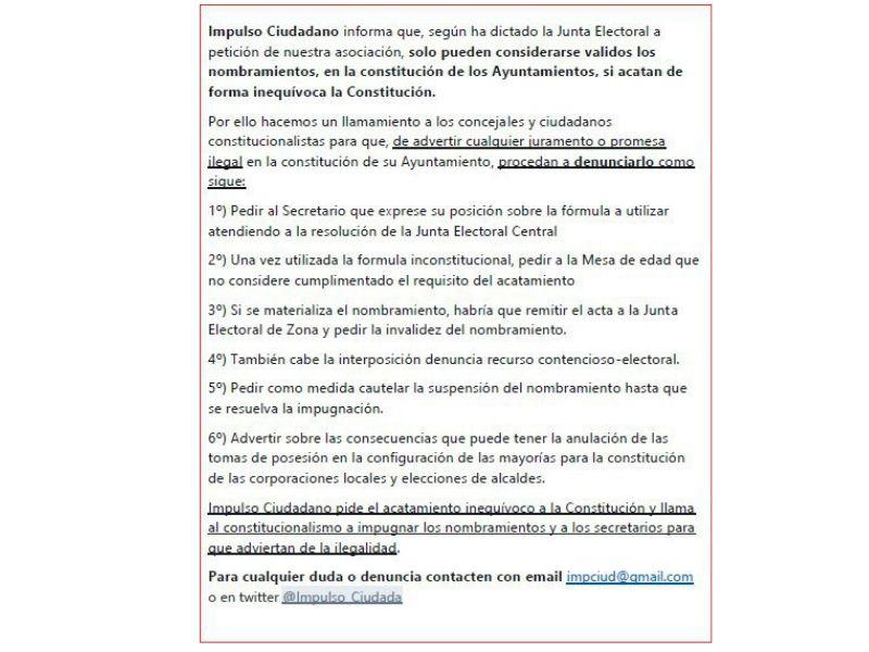 Procedimiento A Seguir En Caso De Juramentación Inconstitucional De Cargos Electos