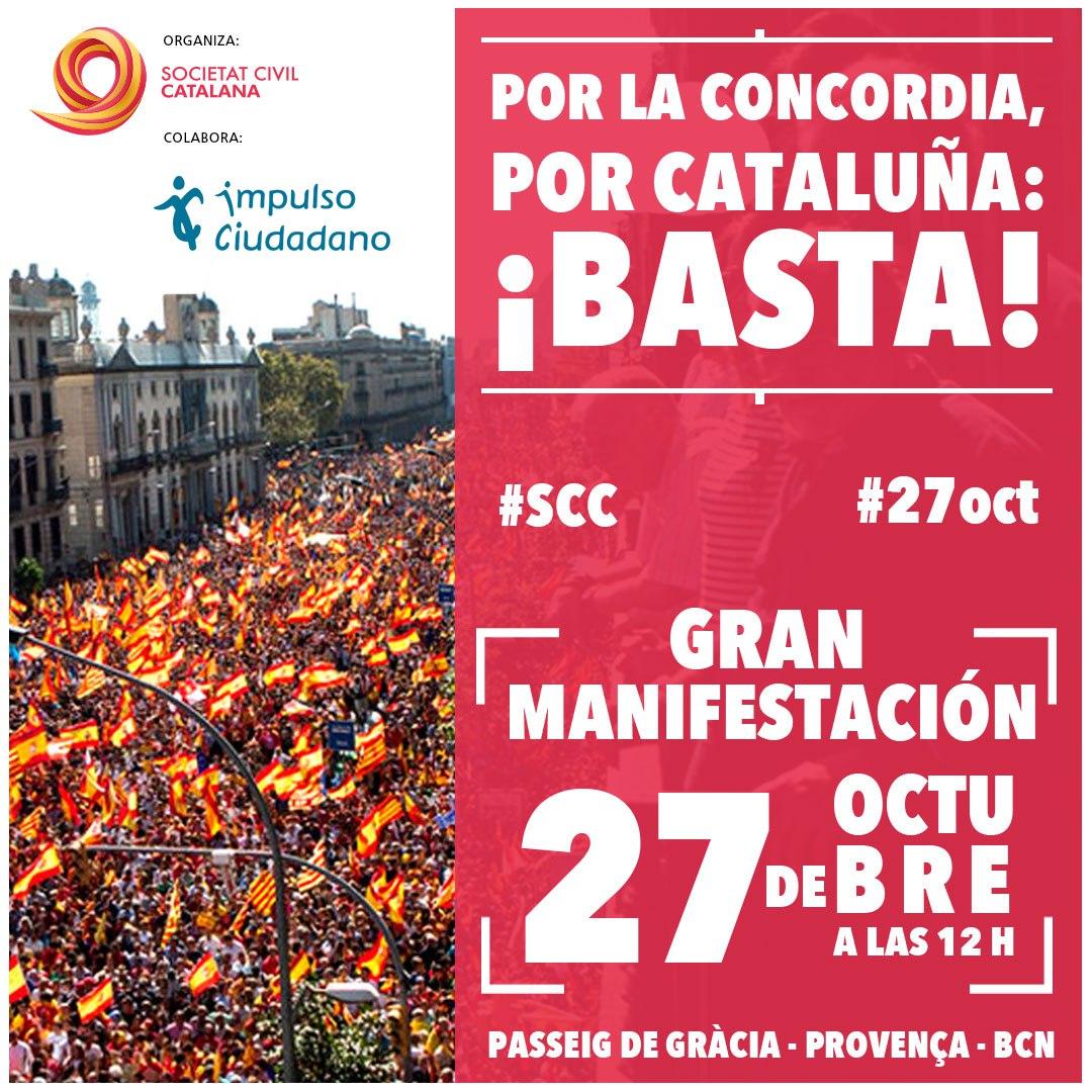 """Te Invitamos A La Manifestación """"Por La Concordia. Por Cataluña: ¡Basta!"""""""